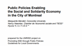 Public Policies Enabling the Social and Solidarity Economy in the City of Montreal