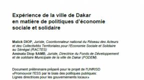 Expérience de la ville de Dakar en matière de politiques d'économie sociale et solidaire (version préliminaire)