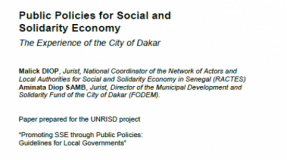 Public Policies for Social and Solidarity Economy : The Experience of the City of Dakar (draft)